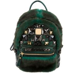 Pre-owned MCM Mink XMini Backpack ($2,200) ❤ liked on Polyvore featuring bags, backpacks, green, studded backpack, pre owned bags, zip bag, preowned bags and metallic backpack