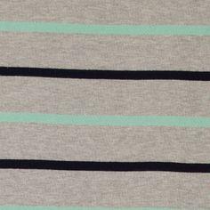Heavy jersey grey melange w Y/D stripes - Stoff & Stil