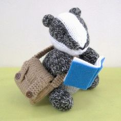 Brompton Badger knitting pattern … Brompton Badger is going to school with his satchel full of books. This listing is for patterns for you to knit your own Brompton Badger and satchel. Finished size … The finished badger is 15 cm tall. About the patt. Knitting Projects, Crochet Projects, Knitting Patterns, Crochet Patterns, Knitting Ideas, Knitting Toys, Knitting Needles, Yarn Projects, Amigurumi Patterns