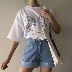 Korean Girl Fashion, Korean Fashion Summer Casual, Korean Fashion Styles, Ulzzang Fashion, Korean Fashion School, Korean Outfit Summer, Asian Fashion, K Fashion Casual, Korean Fashion Minimal