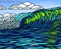 Glassy Green by Heather Brown - Original paintings & prints - waves, ocean, surf art from hawaii Hawaiian Art, Heather Brown Art, Original Paintings, Painting, Hawaii Art, Surf Art, Beach Art, Island Art, Ocean Art