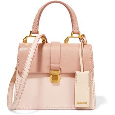 Miu Miu Madras mini textured-leather shoulder bag ($1,620) ❤ liked on Polyvore featuring bags, handbags, shoulder bags, sac, pink, top handle handbags, shoulder strap purses, rose purse, shoulder handbags and shoulder strap handbags