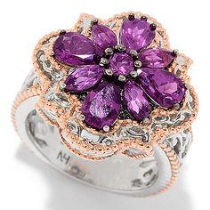 159-197 - Gems en Vogue 2.51ctw Color Change Purple Garnet Flower Ring