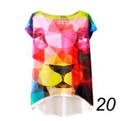 20 England Styles Girl Teenager Printed Loose Casual Short Sleeve Printing Bat Shirt Tops LZH7