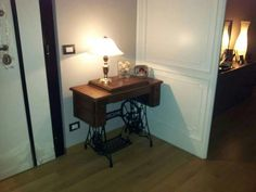 Ancient sewing machine at the entrance  - arch Michela Pasquarelli Office Desk, Entrance, Arch, Interior Design, Sewing, Furniture, Home Decor, Nest Design, Desk Office
