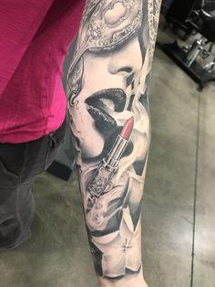 Feminine Arm Sleeve Tattoo Vintage lipstick