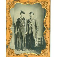 """TWO BROTHERS READY FOR WAR FROM TENNESSEE, Quarter plate ruby ambrotype in a full leather case. Two Brothers obviously posing for the photographer after receiving their muskets and bayonets after entering Confederate service. One wears a """"Mexican War"""" style """"wheelhouse hat"""" and has a tarred haversack hanging from a strap around his neck. For a belt he utilizes a piece of rope. His brother wears a kepi and a homespun long coat of jean material with small metal ball buttons."""