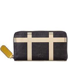 Printed Check Leather Big Zip Wallet Black