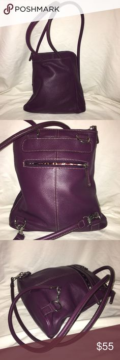 """Clarks Plum Leather Back Pack EUC This Bag is So Pretty & Soft and in Such Amazing Condition it Appears Unworn , Absolutely No Issues , Odors , Smoking or Pets , Measures Approx 10 1/2 """" H , 11"""" L @ Bottom , 8 """" L @ Top , 3 1/2 """" D & 16 """" Straps Clarks Bags Backpacks"""