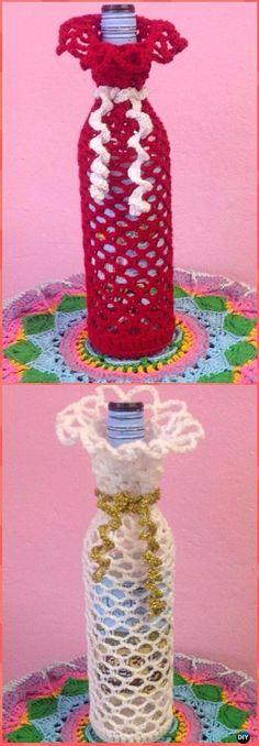 Crochet Wine Bottle Cosy Free Pattern - Crochet Wine Bottle Cozy Bag & Sack Free Patterns