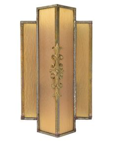 Pair of art deco sconces with brass body and amber glass panels featuring stylized floral and fleur-de-lis details