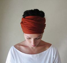 Rust Red Head Scarf, Hair wrap, Headband - Womens Neck Bow, Ascot - Paprika Ribbed Knit Sweater Scarf on Etsy, $20.50