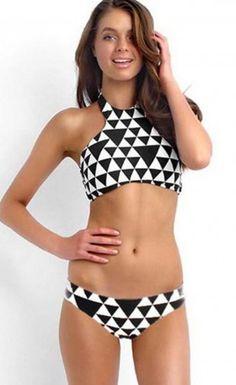$24.99 Free Shipping Black White Geometric Pattern Triangle Bikini