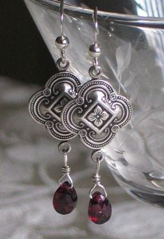 Isabella Garnet and Silver earrings