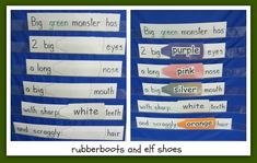 Activities for Book, Go Away Big Green Monster (from Rubber Boots & Elf Shoes)