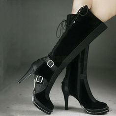 Restro Stylish Stitching Color High Heels Knee-high Boots Knee High Boots- ericdress.com 10785715