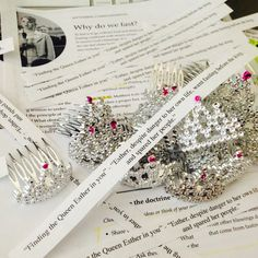 September Young Women Lesson: Why do we fast? Find the Queen Esther in you. Esther, despite danger to her own life, went fasting before seeing the king, and spared her people. Found these cute little tiara hair combs at dollar tree(6 in a pack). They were perfect little trinkets for this lesson. Printed the quote and taped it to the tiaras.