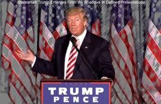 Story: Statesman Trump Emerges From the Shadows in Defined Presentations - by Dwight L. Schwab Jr. - Donald Trump's transition from bellicose carnival barker to statesman-style campaign speeches is nothing less than astonishing. Whereas the far-left liberal media has gleefully portrayed him as a racist, warmonger and crazy, this Donald Trump is throwing steady and calm punches with his defined... #Politics