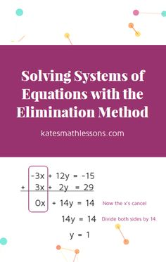 Math lesson with examples and video on solving systems of equations with the elimination method. Great supplementary resource for algebra teachers.