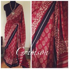 Lovely! CRIMSON Saree by Ayush Kejriwal This saree epitomises minimalism. It has been hand block printed. I love it for 4 reasons - the gorgeous colour, the organic handwoven weave, the hand crafted motif and last but not the least its sheer simplicity. Less is always more! For purchases email me at ayushk@hotmail.co.uk or what's app me on 00447840384707
