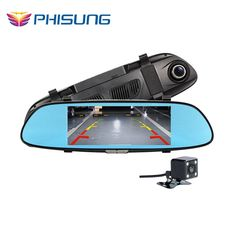 67.89$  Watch now - http://aliyz0.worldwells.pw/go.php?t=32786352612 - Phisung HD 1080P Two Split View LCD Screen Dual lens Car DVR Video Recorder Parking Rear View Rearview Mirror Monitor G-sensor 67.89$