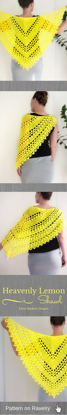 Crochet shawl pattern. Easy to make. Lovely triangle shawl with the perfect lacy look. Includes photo - and videonstructions. Not for complete beginners but still simple to make and with a really cool edging!