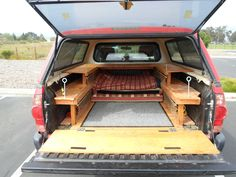 Bigger pic of the DIY truck bed insert for camping under a truck topper.
