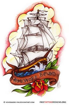 Old school ship tattoo design