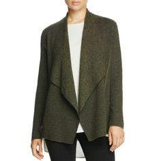 Eileen Fisher Womens Angled Front Long Sleeve Cardigan Sweater, Size: Large, Caper