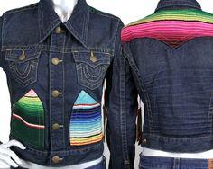 True Religion Jeans JADA Baja serape retro denim jacket iron horse WQ2R94T02 #TrueReligion #JeanJacket