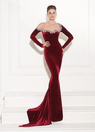 Cheap dress collar, Buy Quality dress up directly from China dress cloak Suppliers: New Style 2017 Crystal Long Sleeve Custom Made Evening Dresses Wine Red Beading Mermaid Gown robe de soiree Dress Prom Dresses Uk, Prom Dresses Long With Sleeves, Designer Prom Dresses, Ball Dresses, Velvet Evening Gown, Evening Dresses, Burgundy Dress, Red Burgundy, Beautiful Gowns