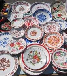 This dishware has typical patterns of Transylvania, the Hungarian area of Romania that was once part of Hungary but taken from it after WWI.