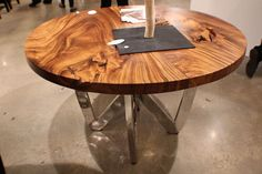 """55"""" spectacular round dining table chrome steel legs natural exotic wood 3"""" slab #WorldBazaarOutlet #Contemporary"""