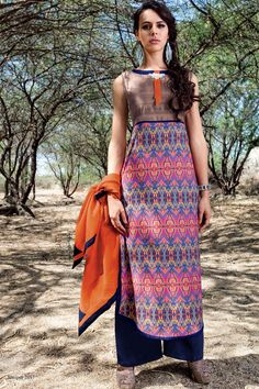 Multicolor divine raw silk salwar with palazzo -SL6874