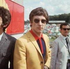 Kenny Jones the drummer of the mod band The Small Faces with fellow band member Ronnie Lane at a pirate radio station at Brands Hatch in Kent