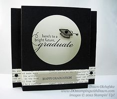 handmade graduation card ... Shadow-Box ... black & white ... elegant ... perfect for the occasion ... Stampin' Up!