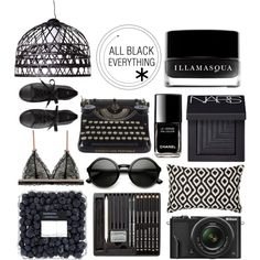 INSPIRATION Board::All Black by wyetha3 on Polyvore featuring art, black, trend, backinblack and StyleBoard