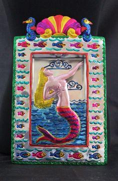 Blond Hair Mermaid Sirena Niche - Tin Retablo Mexican Folk Art Oaxaca Seahorse