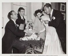 A vintage press shot of comic legends Bud Abbott and Lou Costello at the wedding of Lou's sister, Marie Cristillo, to actor Joe Kirk (aka Mr. Bacciagalupe), circa of Terry Soto Bud Abbott, Old Hollywood Wedding, Comedy Duos, Abbott And Costello, Classic Comedies, Laurel And Hardy, Comedians, Movie Stars, Daughter