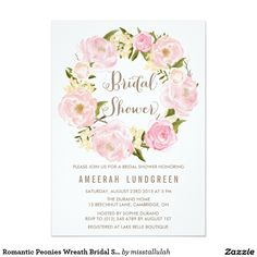 Romantic Peonies Wreath Bridal Shower Invitation