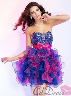 a013eedac6c Stunning Ball Gown Sweetheart Mini-length Organza Sequined Beading Ruffles  with Bow Prom Dress