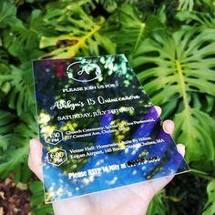 Clear irredescent rainbow acrylic Invites shinny rainbow   Etsy Invitation Design, Corrugated Carton, Acrylic Wedding Invitations, Clear Plastic Bags, Wedding Clutch, Mailing Envelopes, Envelope Sizes, Brocade Fabric