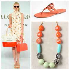 Color of the week: Orange. Featuring Kate Spade polka dot dress & totes, Tory Burch sandals & an Anthropologie necklace with orange beads!