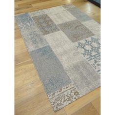 Tapis tissé à plat patchwork effet vintage dans les tons bleus et gris. Collection STAR. 200x290cm.