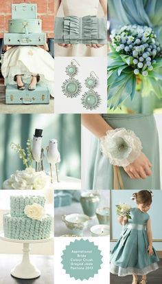 Pantone Greyed Jade Wedding Theme - beautiful for vintage wedding (colour scheme idea again)
