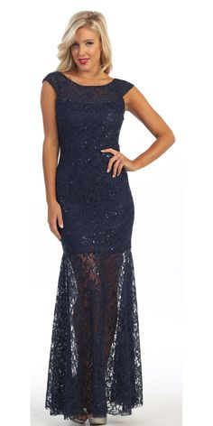 Long Semi Formal Lace Gown Navy Blue Cap Sleeves Illusion Skirt
