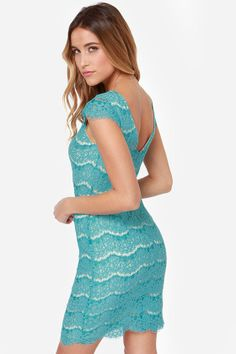 Darling Marissa Turquoise Lace Dress at LuLus.com!