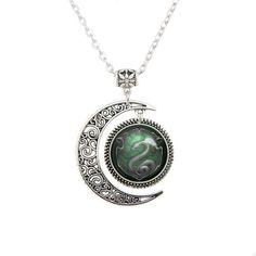 Moon Necklace Harry Salazar Slytherin Snake Pendant Snake necklace... ❤ liked on Polyvore featuring jewelry, snake pendant, pendant jewelry and snake jewelry