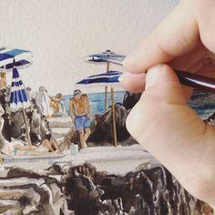 "1,034 gilla-markeringar, 50 kommentarer - Pip Spiro (@pipspiro) på Instagram: ""Painstaking // therapeutic // joy  #pipspiro #watercolour#lafontelina #landscape #seascape…"""