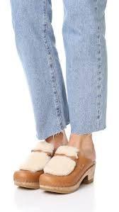 Image result for No. 6 Clogs Fur Loafer Mid Heel Slide Clog